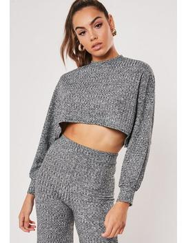 Grey Cropped Batwing Sweatshirt Wide Leg Co Ord Set by Missguided