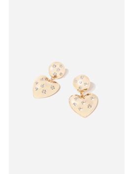 Rhinestone Heart Drop Earrings by Forever 21