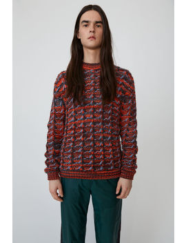 Tuck Knit Sweater Rosewood/Red Melange by Acne Studios