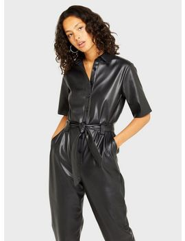 Black Pu Boiler Suit by Miss Selfridge