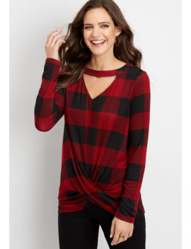 24/7 Buffalo Plaid Cut Out Neck Twisted Tee by Maurices