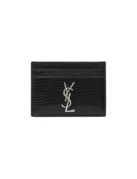 Monogram Croc Embossed Leather Card Case by Saint Laurent