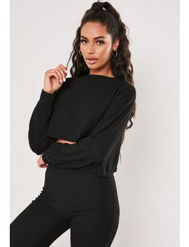 Black Rib Crop Batwing Sweat And Wide Leg Trouser Co Ord Set by Missguided