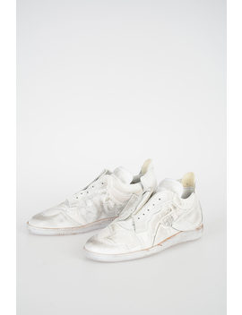 Mm22 Leather And Fabric Collage Sneakers by Maison Margiela