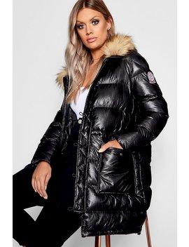 Plus Metallic Longline Puffer Coat by Boohoo