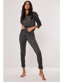 Black Soft Knit Long Sleeve Drawstring Loungewear Set by Missguided