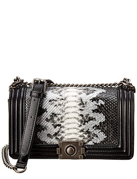 Kc Jagger Large Metallic Python Embossed Leather Crossbody by Kc Jagger
