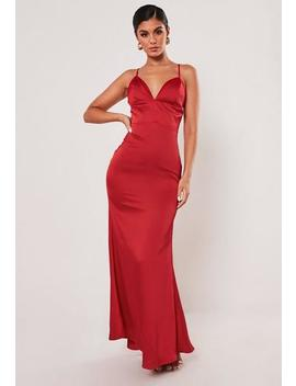 Tall Red Satin Plunge Maxi Dress by Missguided