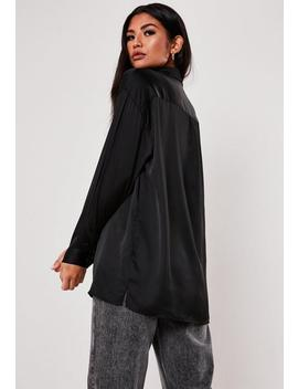 Black Extreme Oversized Satin Shirt by Missguided