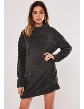Grey Borg Teddy Crew Neck Sweater Dress by Missguided