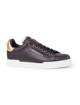 Portofino Sneaker Van Kalfsleer Met Logo by Dolce & Gabbana