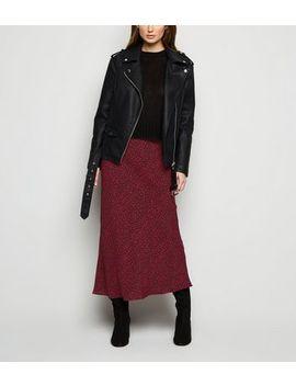 Burgundy Leopard Print Bias Cut Midi Skirt by New Look