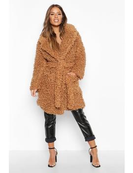 Petite Teddy Faux Fur Belted Coat by Boohoo