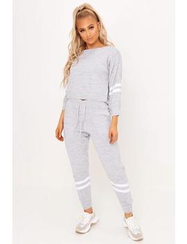 Grey Knitted Stripe Detail Loungewear Set by I Saw It First