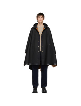 Black Wool Cruchie Poncho Coat by Mackintosh