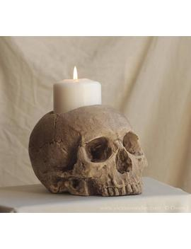 Skull Candle Holder (Natural) Full Size Human Skull Candle Holder Made From Plaster Of Paris And Painted For A Weathered Appearance by Etsy