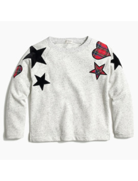 Girls' Heart And Star Patch Sweatshirt by J.Crew