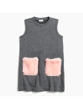 Girl's Dress With Faux Fur Pockets by J.Crew