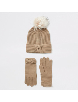 Beige Twisted Knit Beanie And Glove Boxed Set by River Island
