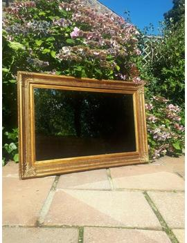 Large Vintage Antique Style French Ornate Mirror Shabby Chic Painted Gold Rectangular Wooden Wood Frame Wall Hanging Traditional Look by Etsy