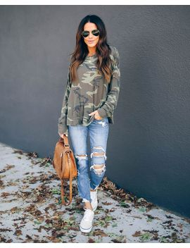Konnor Camo Long Sleeve Knit Top by Vici
