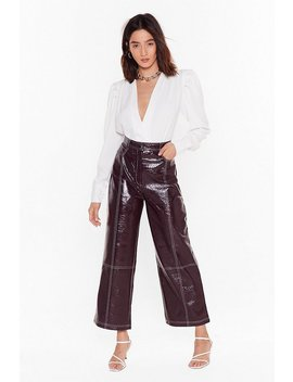 Have The Vinyl Say Stitch Wide Leg Pants by Nasty Gal