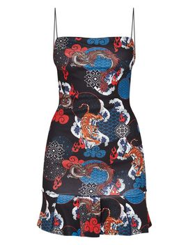 Black Oriental Print Frill Hem Scuba Bodycon Dress by Prettylittlething