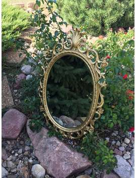 Vintage Oval Hollywood Regency Mirror by Etsy