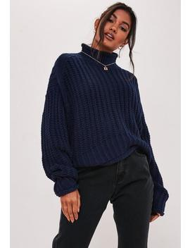 Navy High Neck Oversized Jumper by Missguided