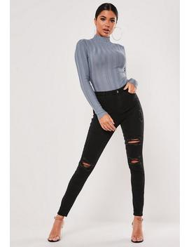 Blue Extreme Rib High Neck Knitted Bodysuit by Missguided