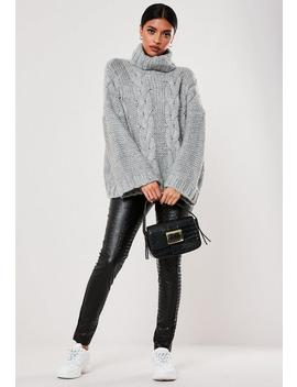 Grey Cable Knit Extreme Oversized Roll Neck Jumper by Missguided