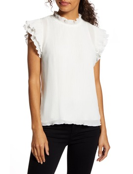 X Glam Steph Taylor Jackson Pleated Ruffle Sleeve Blouse by Gibson