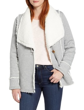 Caslon Faux Shearling Lined Knit Jacket by Caslon