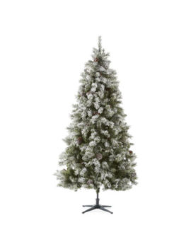 North Pole Trading Co. 7 1/2 Foot Canterbury Pine Pre Lit Flocked Pre Decorated Christmas Tree by North Pole Trading Co