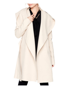 Beige Cashmere Blend Hooded Coat by Peperuna
