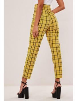 Hayden Williams X Missguided Yellow Check Self Belted Cigarette Trousers by Missguided