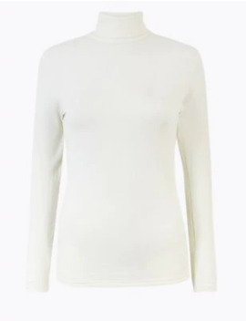 Heatgen™ Ribbed Polo Neck Thermal Top by Marks & Spencer