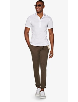 White Knitted Shirt Polo by Suitsupply