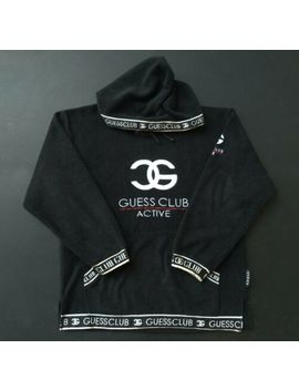 Guess1 Club Hoodie Sweatshirt Crew Neck Pullover Sweater Big Logo Fleece Size M by Guess