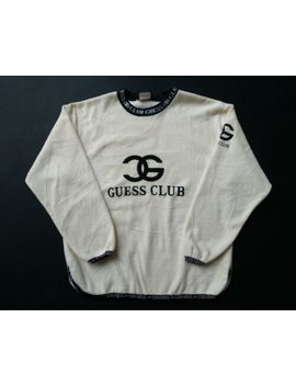 Guess1 Club Sweatshirt Crew Neck Pullover Sweater Big Logo Rare Size L by Guess