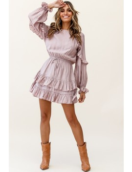 Best Wishes Long Sleeve Frill Detail Dress Blush by Selfie Leslie