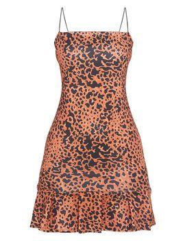 Brown Leopard Print Scuba Frill Hem Bodycon Dress by Prettylittlething