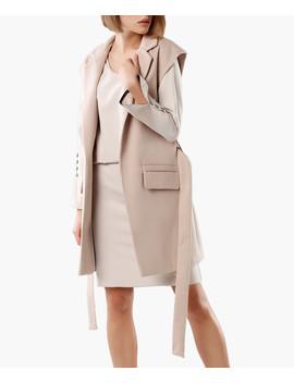 Beige Tie Waist Sleeveless Coat by Rita Koss