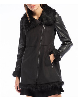 Black Velvet Trim Zip Up Coat by Dewberry