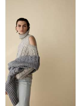 Cable Knit Sweater With Cut Out Detail by Zara