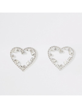 Silver Diamante Heart Stud Earrings by River Island