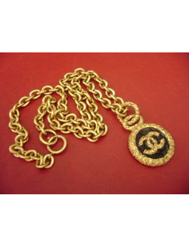 Chanel Vintage Cc Logos Black Round Shape Pendant Chain Necklace by Chanel