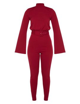 Burgundy Belt Detail High Neck Long Sleeve Jumpsuit by Prettylittlething