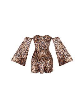 Brown Leopard Print Bardot Binding Detail Shift Dress by Prettylittlething