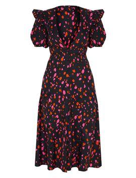 Black Printed V Neck Short Sleeve Midi Dress by Prettylittlething
